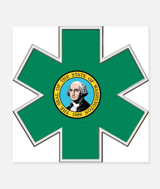 Fire Department Posters - Washington EMS Star of Life - Posters white