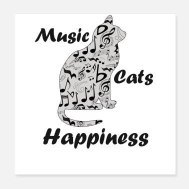 Note Music Notes Cats Happiness - Musician Quote - Poster