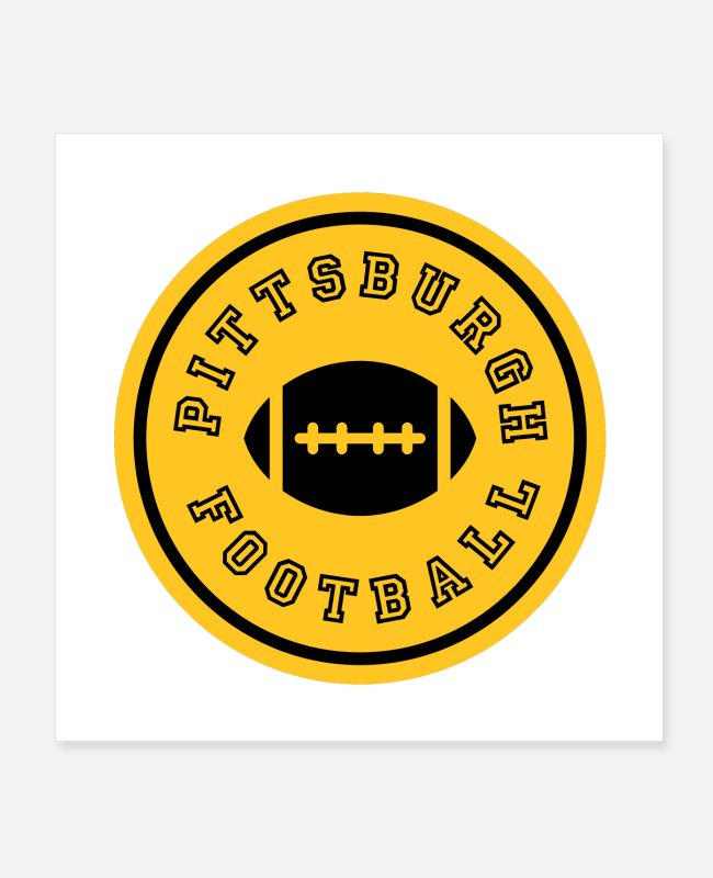 Fan Posters - Pittsburgh Football Circle Design Gifts - Posters white