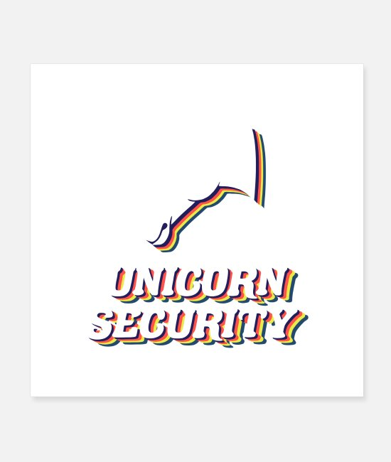 Gay Pride Posters - unicorn security funny unicorn bouncer - Posters white