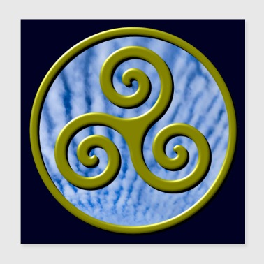 Karma Triskelion Swirl Gold with Clouds Poster - Poster 8x8