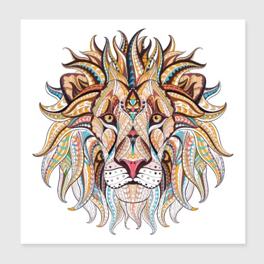 Ethnic Tribal Lion - Poster 8x8