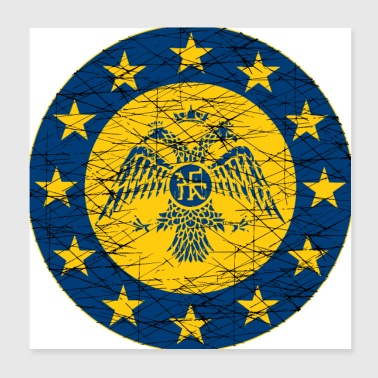 Byzantine Empire standard and EU Flag - Poster 8x8