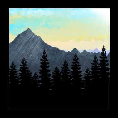 Forest Silhouette and Mountain Range Design. - Poster 8x8