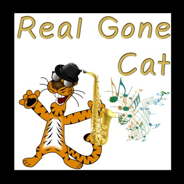 Real Gone Cat. Cool cat with Saxophone. - Poster 8x8
