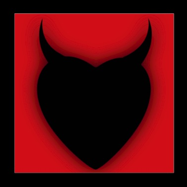 Heart Series Love Black Devil Horns - Poster 8x8