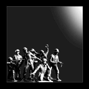 Plastic Army Man Battalion Black and White - Poster 8x8