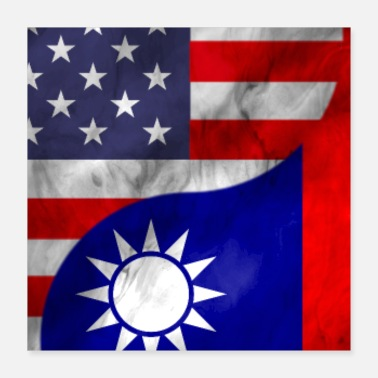 Combine USA and Taiwan Dual Flag Yin Yang Combination - Poster