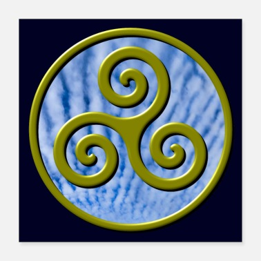 Zen Karma Triskelion Swirl Gold with Clouds Poster - Poster 16x16