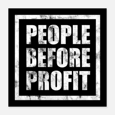 Occupy People Before Profit - Human Rights Poster (White) - Poster