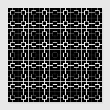 Square Black White Square Chain Pattern Design - Poster 16x16