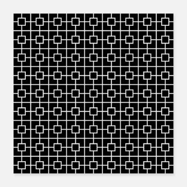 Chain Black White Square Chain Pattern Design - Poster 16x16
