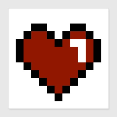 I Heart Heart Pixelated - Poster 16x16