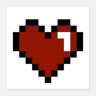Pixel Heart Pixelated - Poster 16x16