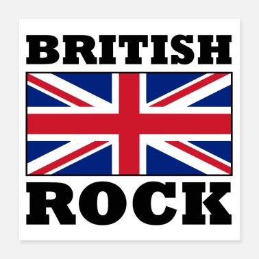 British-flag British Rock with Union Jack Flag Poster - Poster 16x16