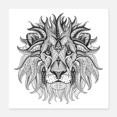 Animal Ethnic Tribal Lion BW - Poster 16x16