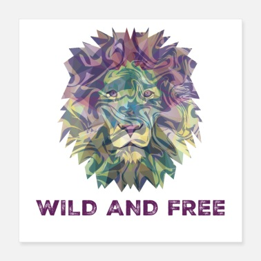 Bold Digital Multicolor Wild And Free Lion Head - Poster 16x16