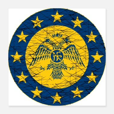 Euro Byzantine Empire standard and EU Flag - Poster