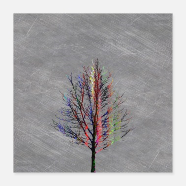 Silhouette Modern Colorful Tree Silhouette Design. - Poster 16x16