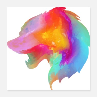 Sand Wolf multi color - Poster 16x16