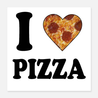 Italian I love Pizza Salami Cheese Gift Fast Food Deliciou - Poster 16x16