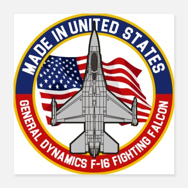 Jet General Dynamics F16 Fighting Falcon - Made in USA - Poster 16x16