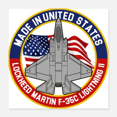 Lightning Lockheed Martin F-35C Lightning II - Made in USA - Poster 16x16