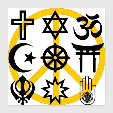 Religion World religions with peace symbol - Poster 16x16