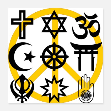 Buddhism World religions with peace symbol - Poster 16x16