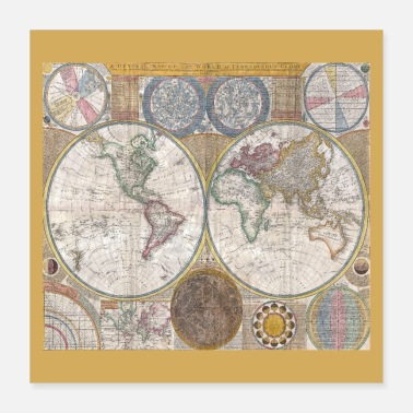 Map Antique World Map Globe Print - Poster 16x16