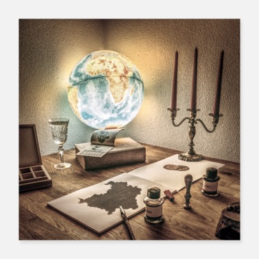 Unusual Rustic Scene Globe Antique Candles Maps Ink - Poster
