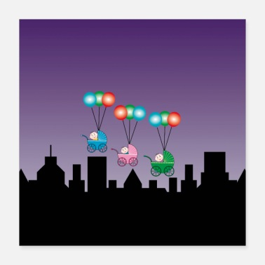 Over Babies in buggies fly away over the skyline - Poster 16x16