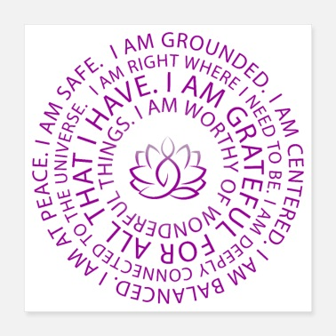 Motivational Lotus Yoga I Am Sayings | Motivation | Inspiration - Poster 16x16