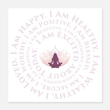 Bless You Lotus Yoga I Am Mantra | Positive Affirmations - Poster 16x16