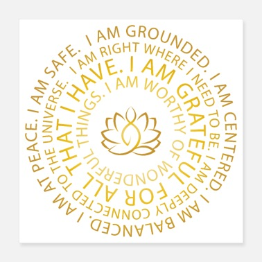 Gate Golden Lotus Yoga | I Am Mantra | Affirmations - Poster 16x16
