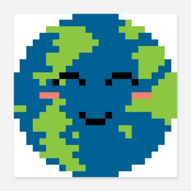 Pixel Pixelated Smiling World - Gift Idea - Poster 16x16