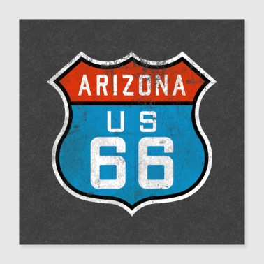Weather Route 66 Arizona Sign Logo Symbol USA Gifts - Poster 16x16