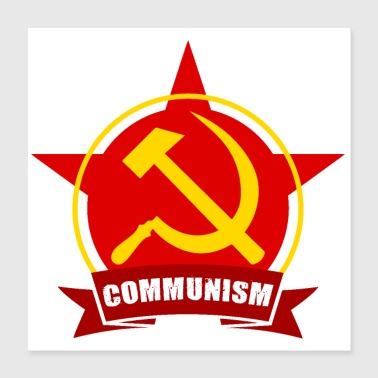 Communism Red Army Star Banner Badge Hammer Sickle - Poster 16x16