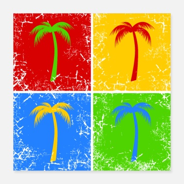 Vacation Palm tree holiday summer vacation - Poster 16x16