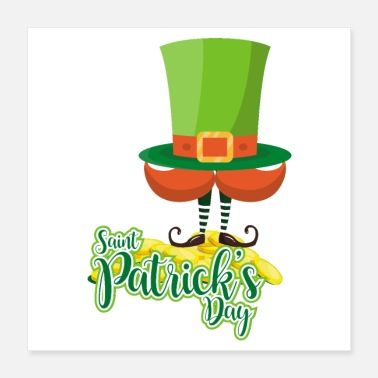 St Patricks Day St. Patricks Day hat beard elf feet boots - gift - Poster 16x16