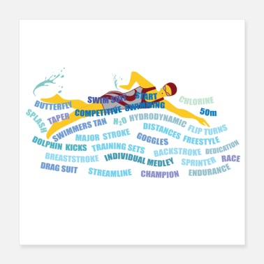 Freestyle freestyler swimmer race - Poster 16x16
