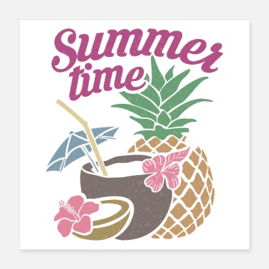 Coconut Summer Summer Time Hawaii Cocktail Coconut Straw - Poster 16x16