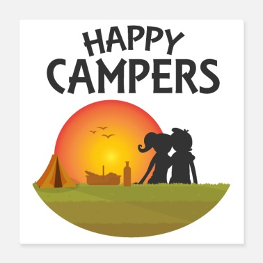 Outdoor Happy Campers Outdoor Black - Gift Idea - Poster 16x16