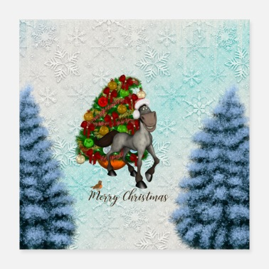 Hockey Christmas, cute horse with christmas hat - Poster 16x16