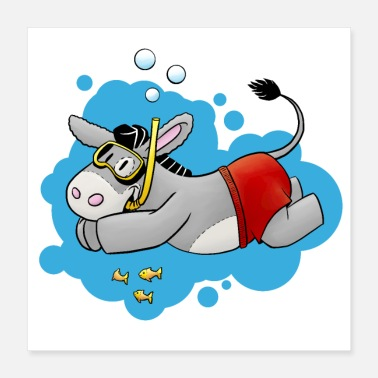 Swim Fluffy donkey swimming - Poster 16x16