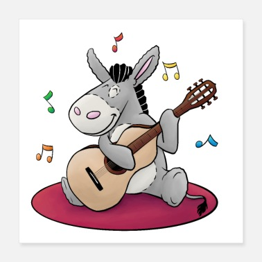 Fluffy Fluffy donkey with guitar - Poster 16x16