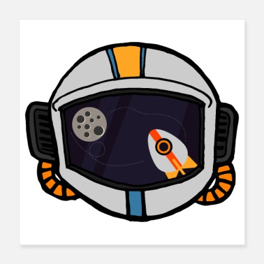 View Flat Design Astronaut Space Rocket View Reflection - Poster 16x16