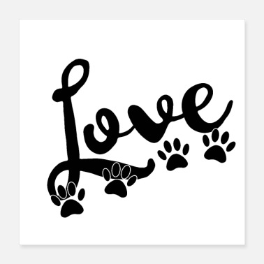 Paw love typography with 4 dog paw prints - Poster 16x16