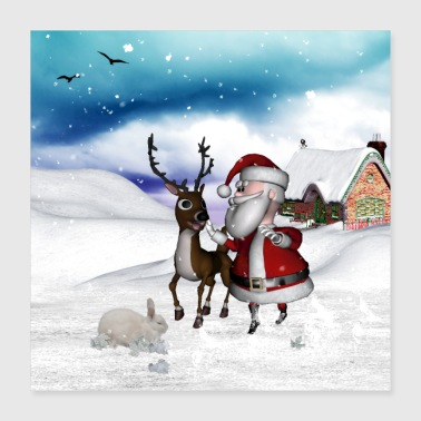 Santa Claus with cute reindeer - Poster 16x16
