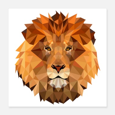 Africa Low Poly Art Lion King Of The Animal Powerful - Poster 16x16